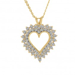 1.50 Carat Round Diamond Heart Pendant on Spiral Link Chain 14K Yellow Gold