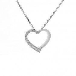 0.37 Carat Round Brilliant Diamond Heart Pendant on Cable Link Chain 14K White Gold