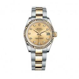 Rolex Datejust 31 Steel & 18K Yellow Gold Watch Champagne Diamond Dial 178273