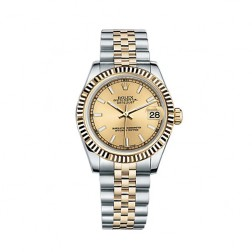 Rolex Datejust 31 Steel & 18K Yellow Gold Watch Champagne Index Dial 178273