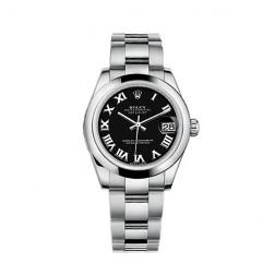 Rolex Datejust 31 Stainless Steel Watch Black Roman Dial 178240