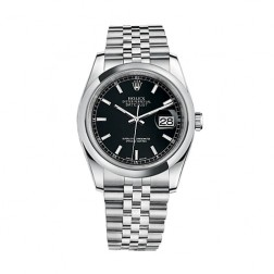 Rolex Datejust 36 Stainless Steel Watch Jubilee Bracelet Black Dial 116200