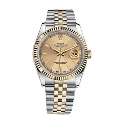 Rolex Datejust 36 Steel & 18K Yellow Gold Watch Champagne Index Dial 116333