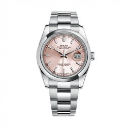 Rolex Datejust 36 Stainless Steel Watch Pink Index Dial 116200