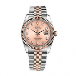 Rolex Datejust 36 Steel & 18K Everose Gold Watch Pink Diamond Dial 116231