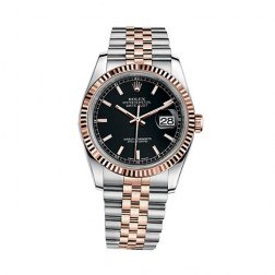 Rolex Datejust 36 Steel & 18K Everose Gold Watch Black Index Dial 116231