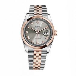 Rolex Datejust 36 Steel & 18K Everose Gold Watch Steel Grey Roman Dial 116201