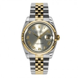 Rolex Datejust 36 Steel & 18K Yellow Gold Watch Silver Roman Dial 116233