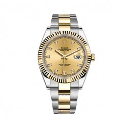 Rolex Datejust 41 Steel & 18K Yellow Gold Watch Champagne Diamond Dial 126333