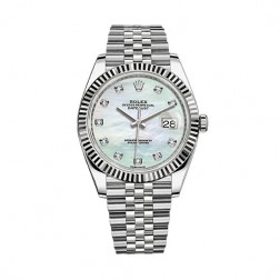 Rolex Datejust 41 Steel & 18K White Gold Watch MOP Diamond Dial 126334