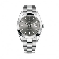 Rolex Datejust 41 Stainless Steel Watch Oyster Bracelet Dark Rhodium Dial 126300