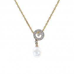 0.08 Carat Round Diamond & 8.2mm Pearl Spiral Pendant on Cable Link Chain 10K Yellow Gold