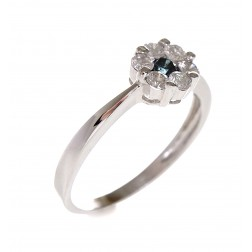 0.50 Carat Classic Floating Pave Flower Blue Diamond Ring 14K White Gold