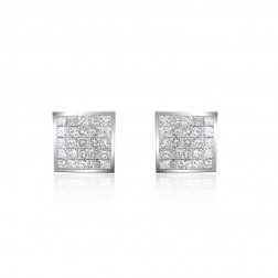 0.75 Carat Invisible Set Princess Cut Diamond Stud Earrings 14K White Gold