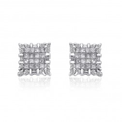 1.00 Carat Princess, Round & Baguette Cut Diamond Cluster Stud Earrings 14K White Gold