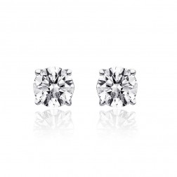 0.95 Carat Round Brilliant Cut Diamond H/SI1 Stud Earrings 14K White Gold