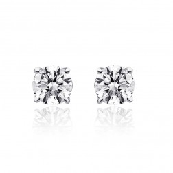 0.55 Carat Round Brilliant Cut Diamond H/SI1 Stud Earrings 14K White Gold