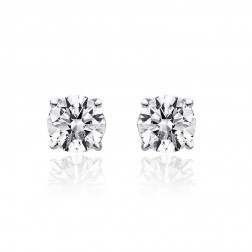 0.80 Carat Round Brilliant Cut Diamond G/VS2 Stud Earrings 14K White Gold