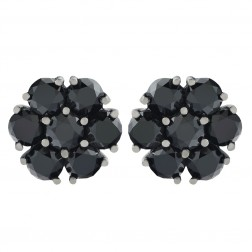 5.00 Carat Black Diamonds Cluster Style Stud Earrings 14K  White Gold Black Rhodium