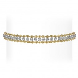 1.00 Carat Round Cut Diamond Rope Chain Tennis Bracelet 10K Yellow Gold