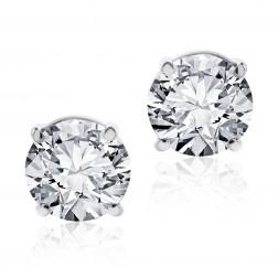 0.98 cttw Round Brilliant Diamond Screw Back Studs F-G/VS2 14K White Gold
