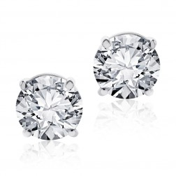 3.15 Carat Round Brilliant Cut Diamond Stud Earrings G-H/SI 14K White Gold
