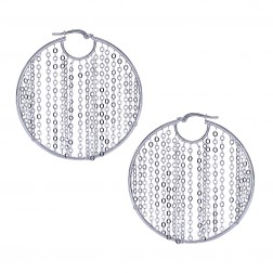 Hoop Earrings With Dangling Chains 14K White Gold