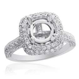 1.57 Carat Round Diamond Pave Halo Engagement Mounting 18K White Gold