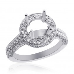 1.40 Carat Round Diamond Antique Inspired Halo Engagement Mounting 18K White Gold