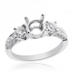0.85 Carat Round Diamond Three Stone Engagement Mounting 14K White Gold