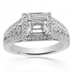 0.85 Carat Round Diamond Antique Inspired Halo Engagement Mounting 18K White Gold