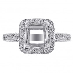 0.85 Carat Round Diamond Antique Inspired Halo Engagement Mounting 14K White Gold