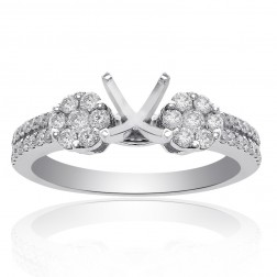 0.60 Carat Round Diamond Cluster Engagement Semi-Mounting 14K White Gold