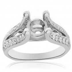 0.65 Carat Round Diamond Split Shank Engagement Mounting 18K White Gold
