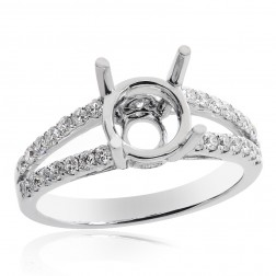 0.47 Carat Round Diamond Split Shank Engagement Mounting 14K White Gold