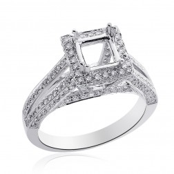 0.89 Carat Round Diamond Split Shank Halo Engagement Mounting 14K White Gold