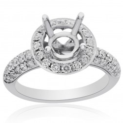 0.81 Carat Round Diamond Halo Engagement Ring Mounting 14K White Gold
