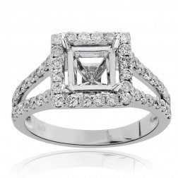 0.83 Carat Round Diamond Halo Engagement Ring Mounting 14K White Gold