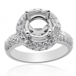 1.28 Carat Round Diamond Pave Halo Engagement Mounting 14K White Gold