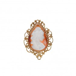 14k Yellow Gold Large Oval Cameo Portrait Pendant Brooch