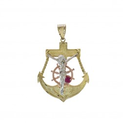 14K Tri-Color Gold Mariners Crucifix Pendant