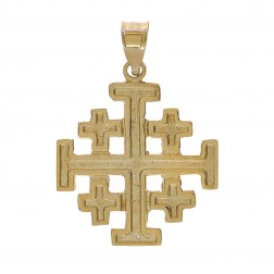 14K Yellow Gold 5 Greek Crosses Medieval Religious Charm Pendant