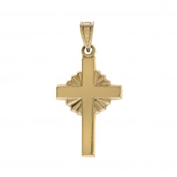 14K Yellow Gold Stamped MA Cross Pendant