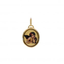 14K Yellow Gold Botticelli Putti Angel Made In Italy Charm