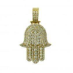 6.00 Carat Diamond Hamsa Hand of God Pendant Necklace 14K White Gold 32.6 grams