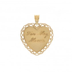 """For my Mom"" Heart Pendant 14K Yellow Gold"