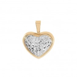 Heart Pendant 14K Two Tone Gold Diamond Cut