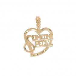 """Someone Special"" Heart Pendant 14K Yellow Gold Diamond Cut"