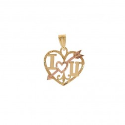 """I love you"" Heart Pendant 14K Two Tone Gold Diamond Cut"