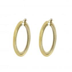 Twisting Rope Hoop Earrings 14K Yellow Gold
